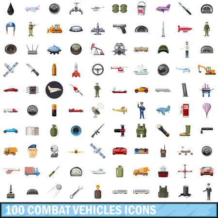 100 combat vehicles icons set, cartoon style Illustration
