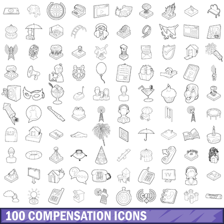 100 compensation icons set, outline style