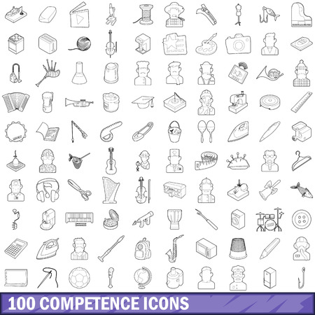 personality development: 100 competence icons set, outline style Illustration