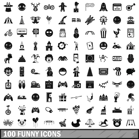 joke glasses: 100 funny icons set in simple style for any design vector illustration.