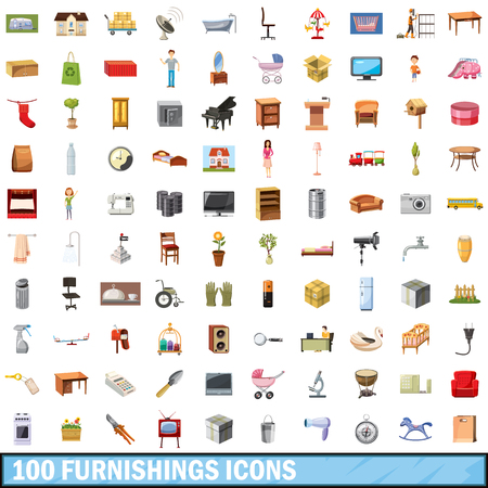 100 furnishings icons set in cartoon style for any design vector illustration. Illustration