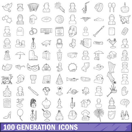 100 generation icons set, outline style