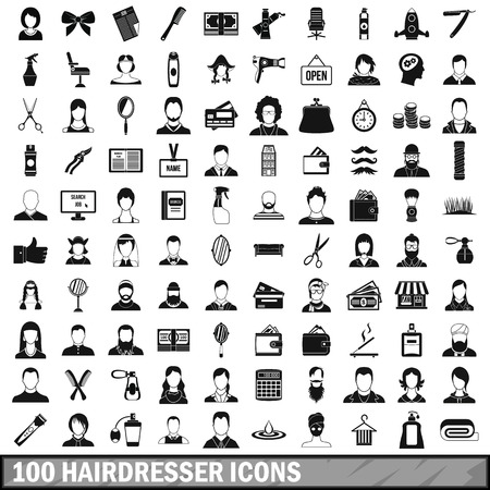 set of men hair styling: 100 hairdresser icons set, simple style Illustration