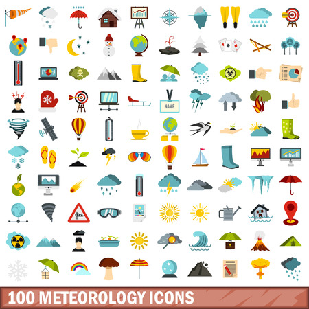 flooding: 100 meteorology icons set in flat style for any design vector illustration