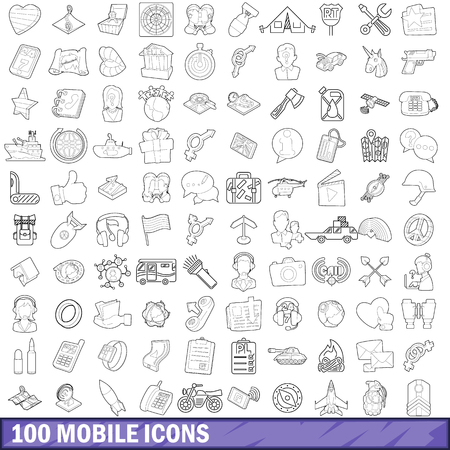 gps device: 100 mobile icons set in outline style for any design vector illustration