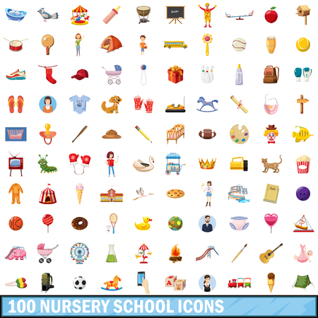baby and mother: 100 nursery school icons set in cartoon style for any design vector illustration