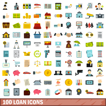 lending: 100 loan icons set in flat style for any design vector illustration Illustration