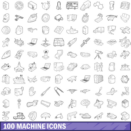 fabrication: 100 machine icons set in outline style for any design vector illustration
