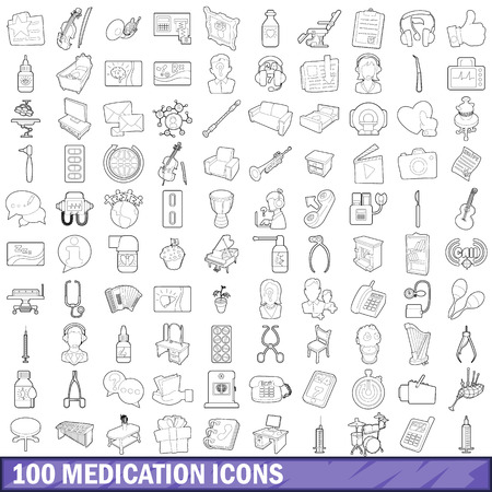 medicament: 100 medication icons set in outline style for any design vector illustration
