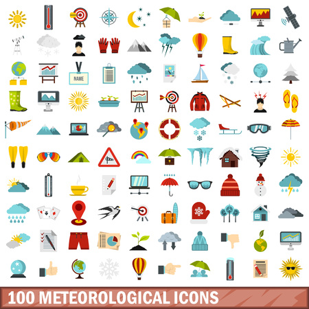 meteorological: 100 meteorological icons set in flat style for any design vector illustration