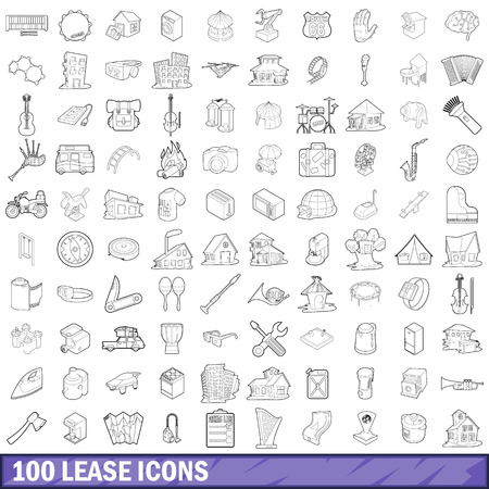 forsale: 100 lease icons set in outline style for any design vector illustration