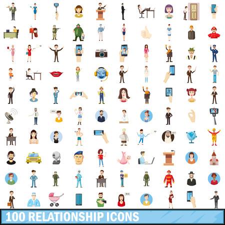 humanity: 100 relationship icons set, cartoon style