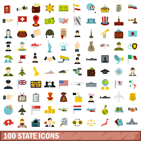 begging: 100 state icons set, flat style