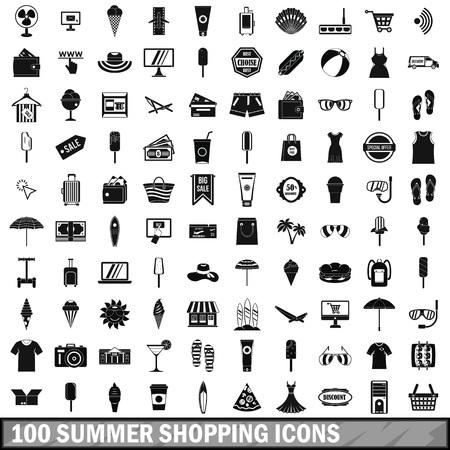 100 summer shopping icons set, simple style Ilustração