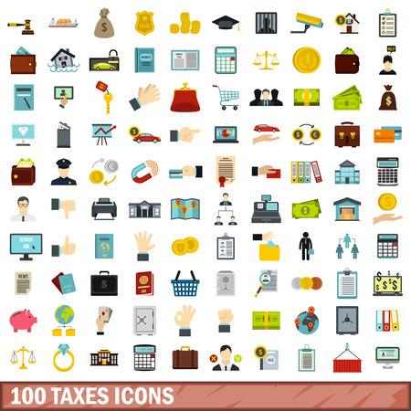 100 taxes icons set, flat style