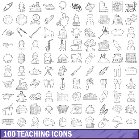 100 teaching icons set, outline style