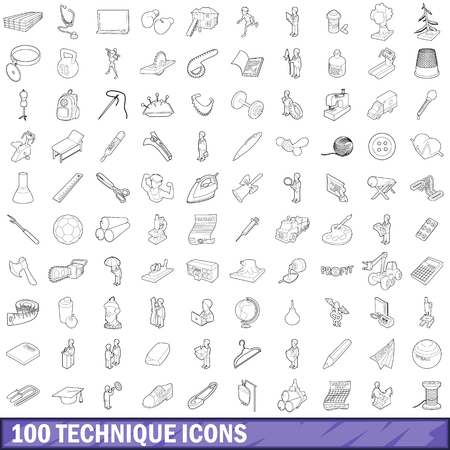 100 technique icons set, outline style Çizim