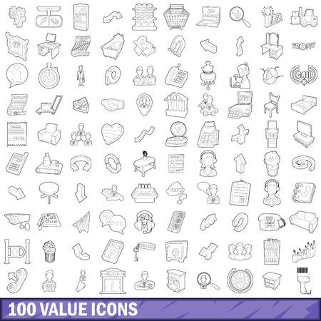 100 value icons set, outline style Ilustração
