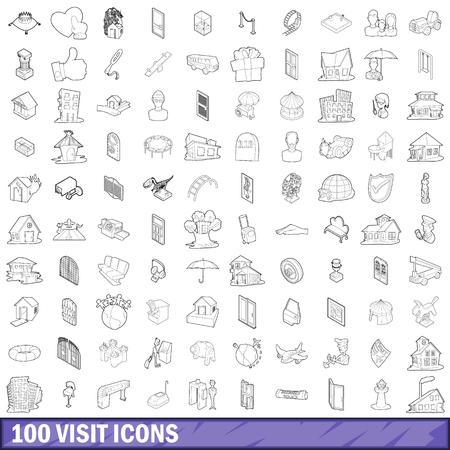 100 개의 방문 아이콘 설정, 스타일 개요 일러스트