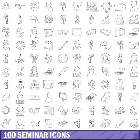 congress center: 100 seminar icons set, outline style