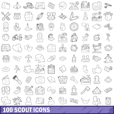100 scout icons set, outline style