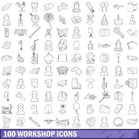 100 workshop icons set, outline style Ilustração