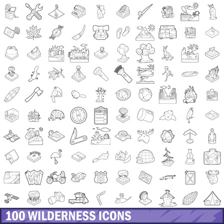 exploring: 100 wilderness icons set, outline style