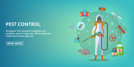 Pest control banner horizaontal concept. Cartoon illustration of pest control banner horizontal vector concept for web