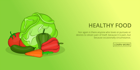 Healthy food vegetables banner horizaontal concept. Cartoon illustration of healthy food vegetables banner horizontal vector concept for web
