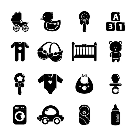 Baby born icons set. Simple illustration of 16 baby born vector icons for web