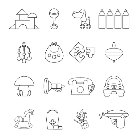 pail: Kindergarten icons set, outline style Illustration