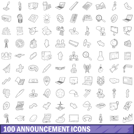 loud speaker: 100 announcement icons set in outline style for any design vector illustration Illustration