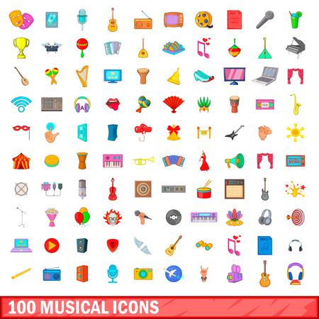 100 musical icons set, cartoon style Illustration