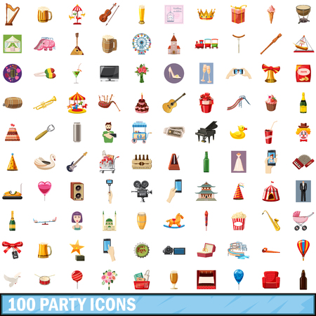 chances are: 100 party icons set, cartoon style