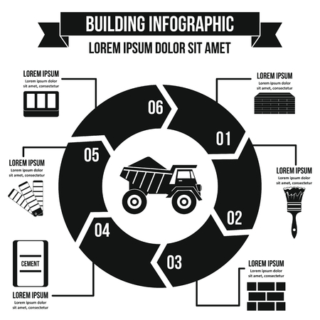 depth measurement: Building infographic concept, simple style Illustration