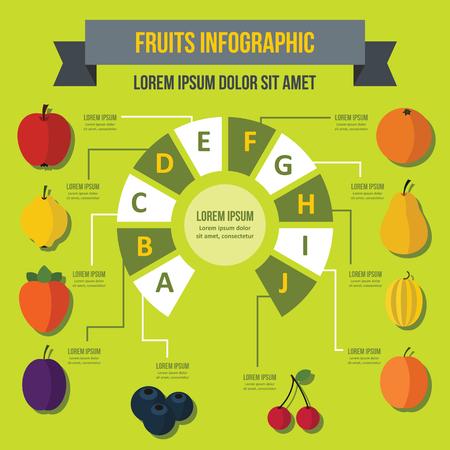 membrillo: Concepto de banner infográfico de frutas. Ilustración plana del concepto del cartel del vector del infographic de la fruta para la tela.