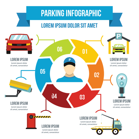 Parking service infographic concept, flat style Illustration