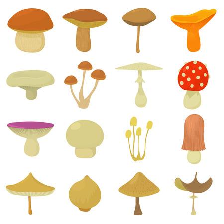 Mushroom types icons set, cartoon style.