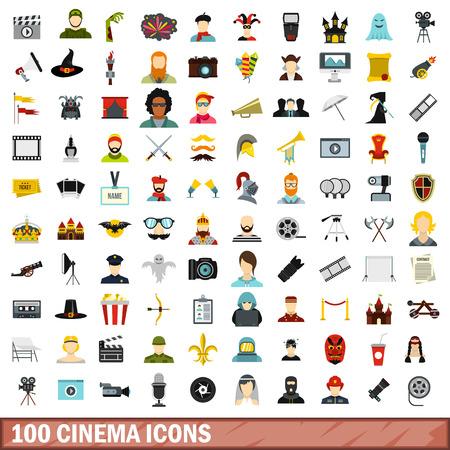 fireman: 100 cinema icons set, flat style