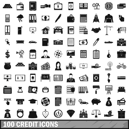 smartphone business: 100 credit icons set, simple style Illustration