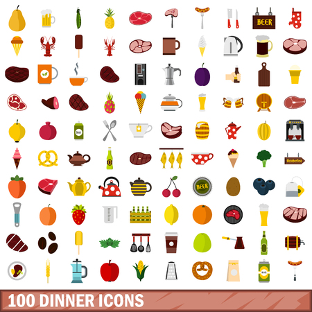 100 dinner icons set, flat style