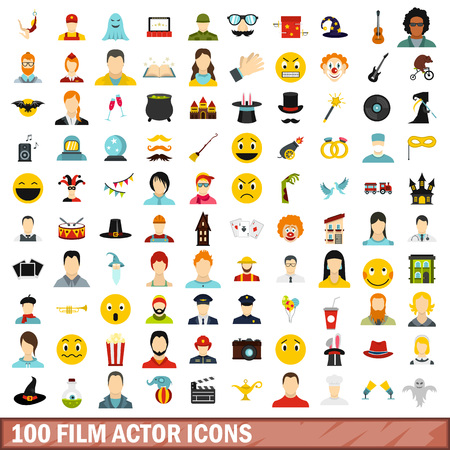 100 film actor icons set, flat style