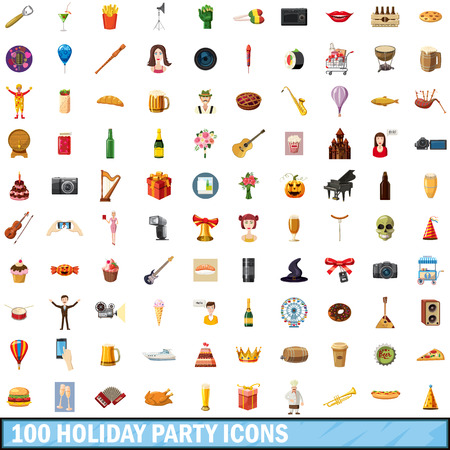 piano roll: 100 holiday party icons set, cartoon style Illustration