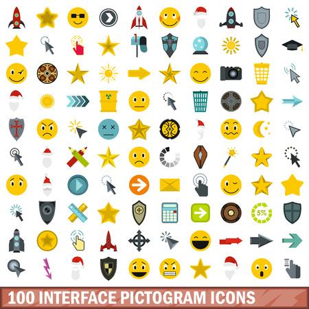 100 interface pictogram icons set, flat style Illustration