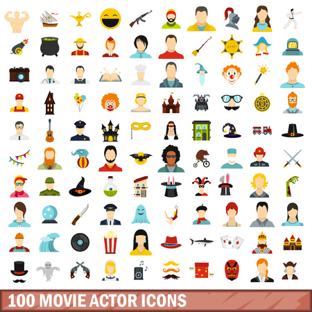 theatre masks: 100 movie actor icons set, flat style