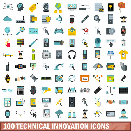voice recorder: 100 technical innovation icons set, flat style