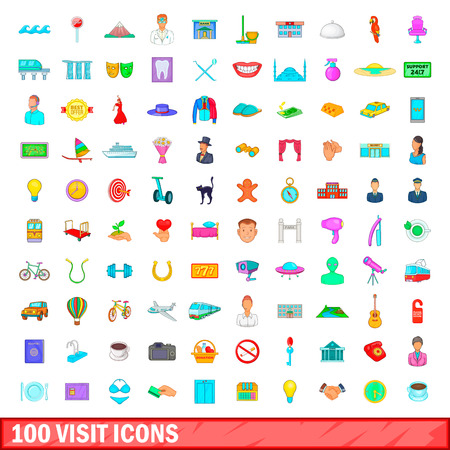 100 visit icons set in cartoon style for any design illustration