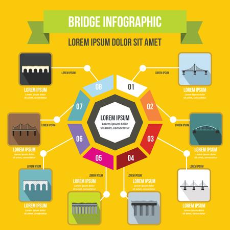 footing: Bridge infographic concept, flat style