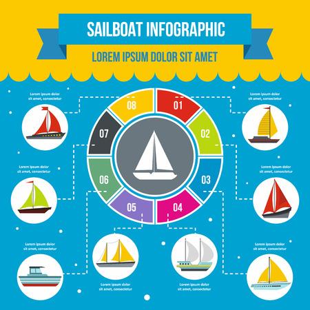 Concetto di infografica barca a vela, stile piatto