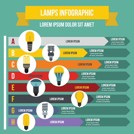 ランプ インフォ グラフィック コンセプト、フラット スタイル